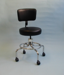 24 inch Stool with Backrest and Footrest